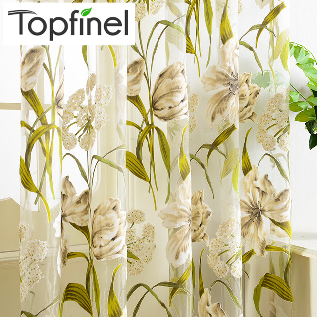 Beautiful Top Finel Tropical Floral Print Semi Sheer Curtains For Living Room Bedroom  Kitchen Printed Flower Window