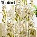 Top Finel Tropical Print Floral Semi Sheer Cortinas Da Janela Cortinas para Sala de estar Cozinha Quarto Impresso Flor de Tule