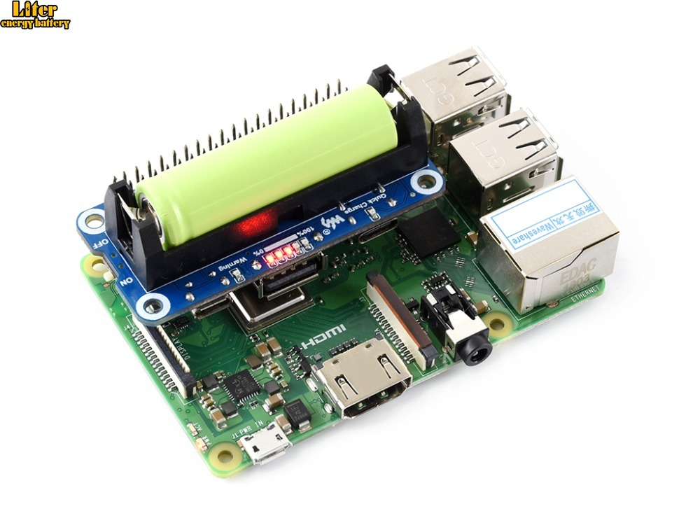Raspberry Pi Li-ion Battery HAT, 5V Regulated Output, Bi-directional Quick Charge