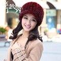 Venta caliente Sombrero Mantener Caliente en Invierno Gruesa de Punto de Visón Viseras Cap 2016 Nuevo estilo Casual Femenina Tapas de Las Mujeres Sombrero de Piel Real