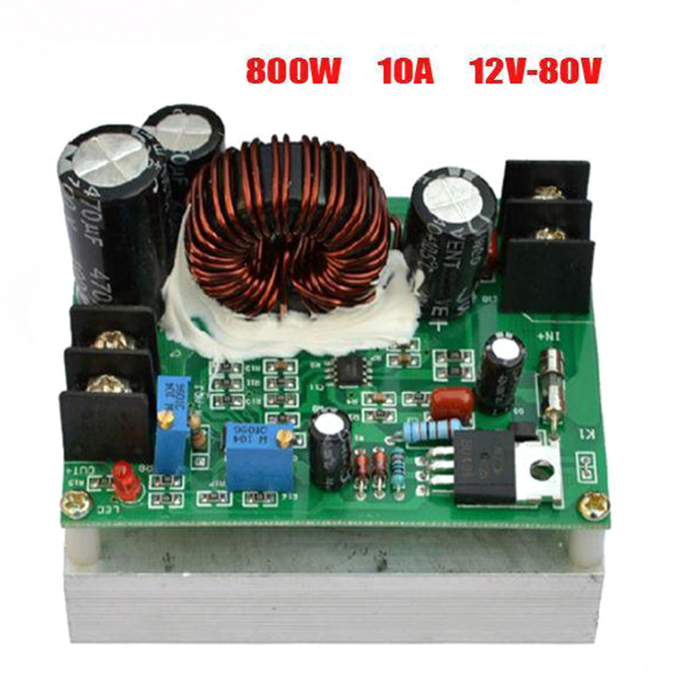 1PC 12V --0V 800W Boost DC-DC Converter Power Supply Step-up Module Up To 92-98% Efficiency