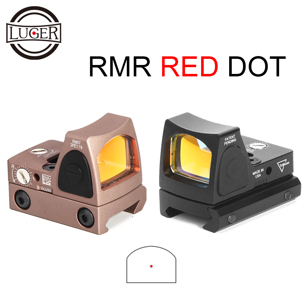 LUGER Tactical RMR Red Dot Sight Rifle Scope Collimador Reflex Sight Hunting Scope Fit 20mm Weaver Rail For Airsoft RifleLUGER Tactical RMR Red Dot Sight Rifle Scope Collimador Reflex Sight Hunting Scope Fit 20mm Weaver Rail For Airsoft Rifle
