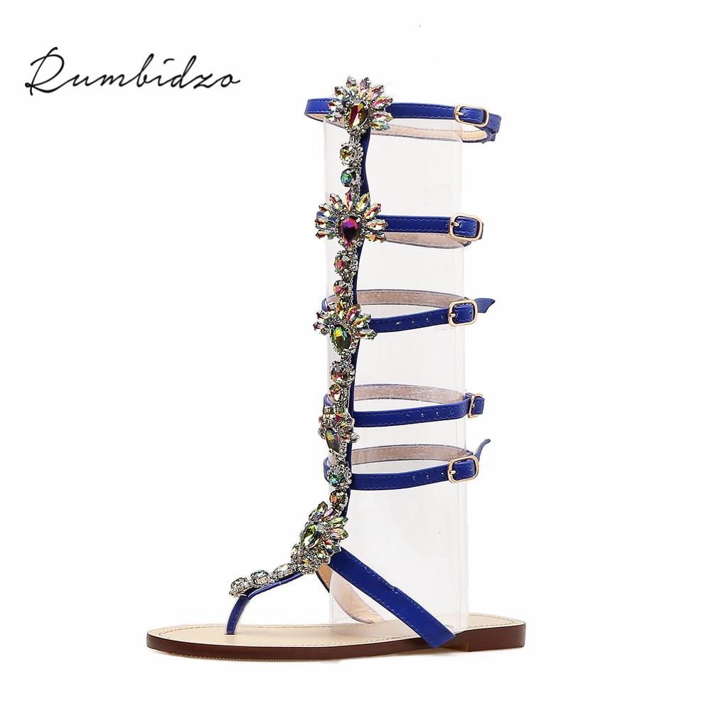Rumbidzo Women Sandals 2018 Fashion Mid-calf Flat Heels Sandals Gladiator Buckle Strap Crystal Sandalias Sapatos цена 2017