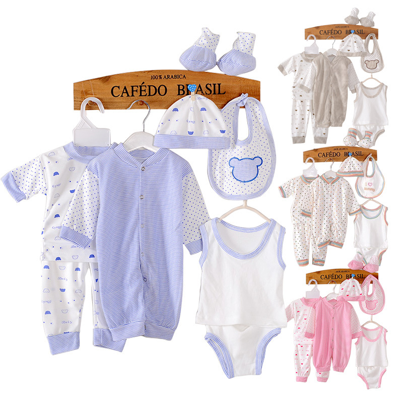 (8pcs/set)Long sleeve Newborn Baby 0-3M Brand Boy Girl warm Clothes set 100%Cotton Cartoon Underwear baby set Jumpsuit Clothing