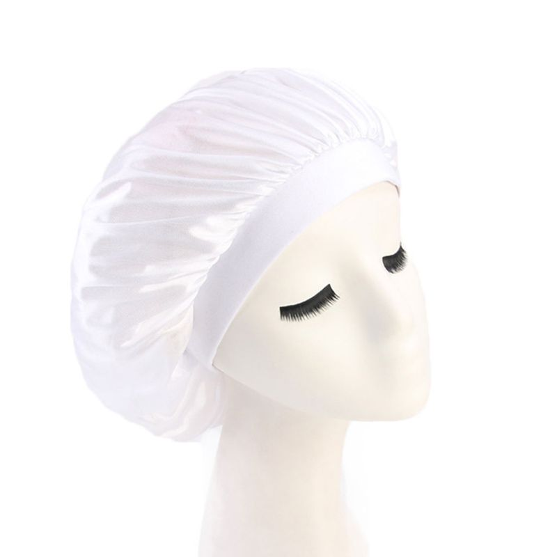 Solid Color Elastic Rubber Band Nightcap Clean Home Hat Air Conditioning Hats Women Lady Long Hair Cap Headgear in Women 39 s Skullies amp Beanies from Apparel Accessories
