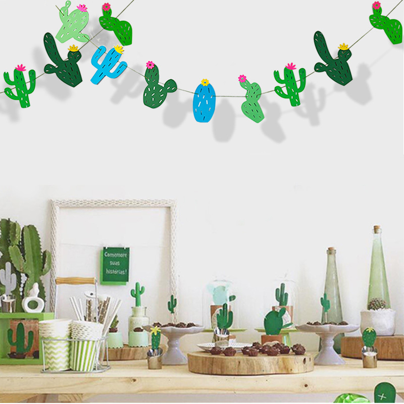 Summer Theme Wedding Party Decorations Cactus Banner Pennant Tropical Party Birthday Party Festival Hawaii kid's party Decor