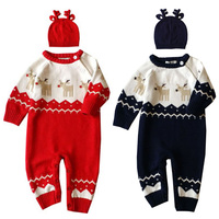 Baby Christmas Rompers Thick Infant Clothes Newborn Baby Clothes Set Deer Jumpsuit Knit Reindeer Hat Baby Winter Clothing Sets