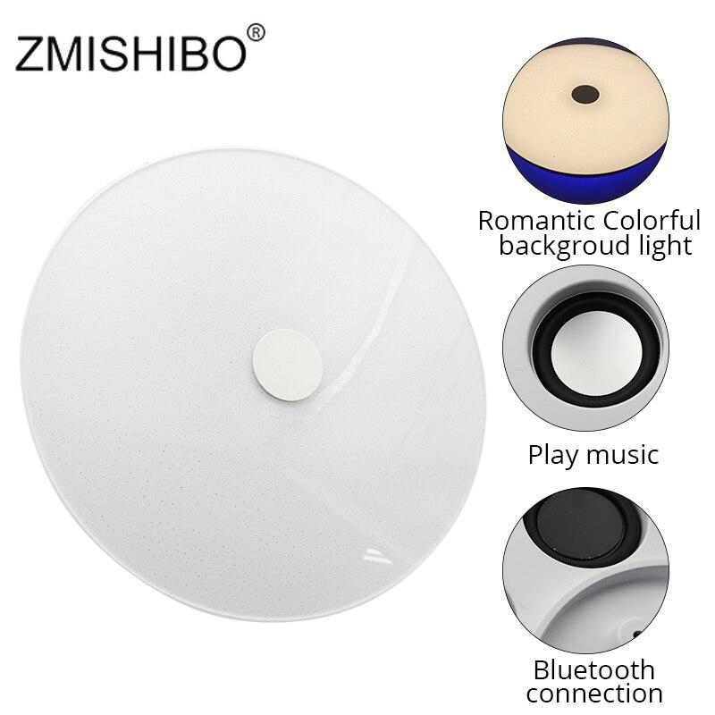 ZMISHIBO LED ABS plafonnier Bluetooth haut-parleur télécommande lumières 36W 220 V-240 V réglable couleur d'éclairage 2700 K-6400 K