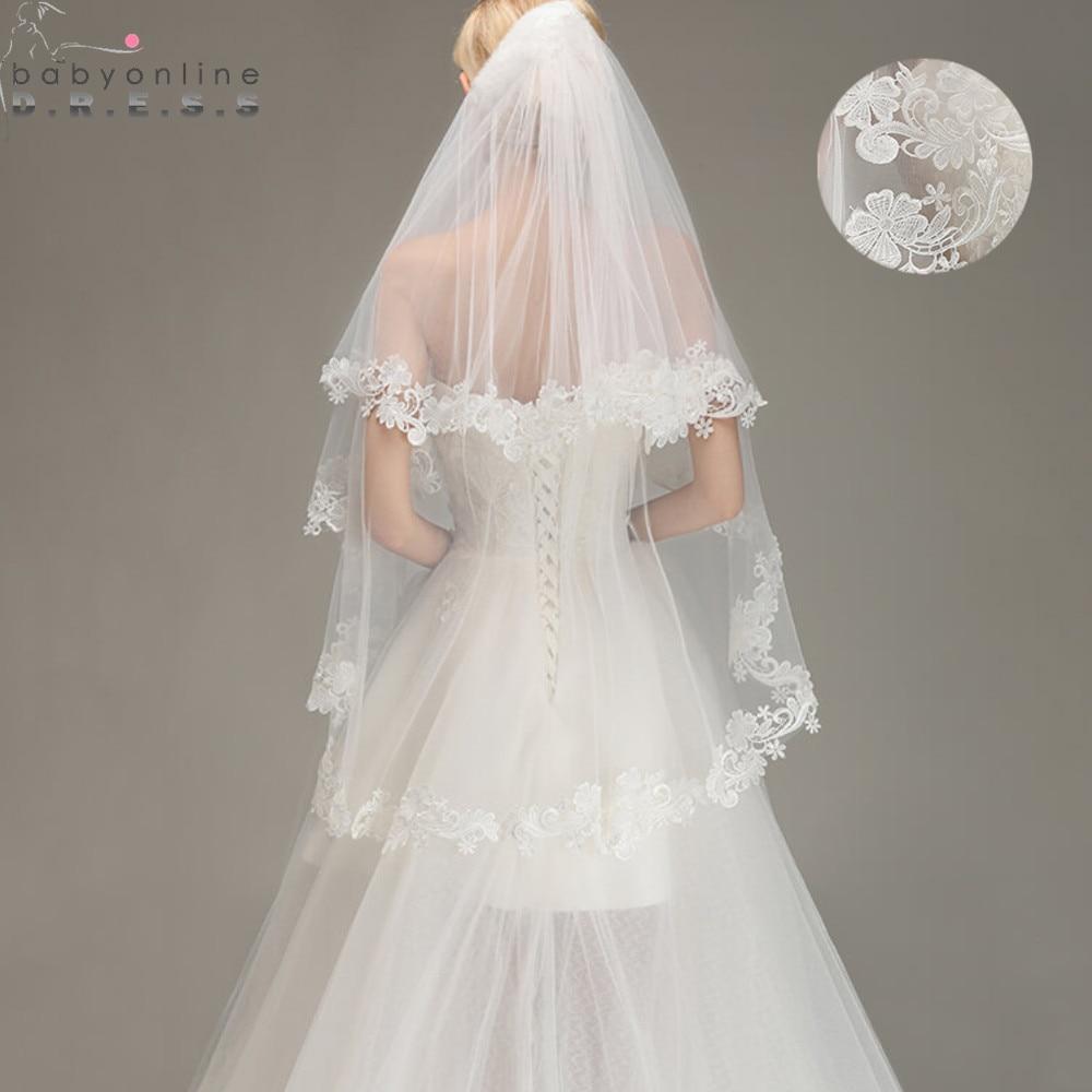 Voile Mariage 1.5M dentelle bord court Mariage Voile avec peigne deux couches Tulle mariée Voile pas cher accessoires de Mariage Veu de Noiva