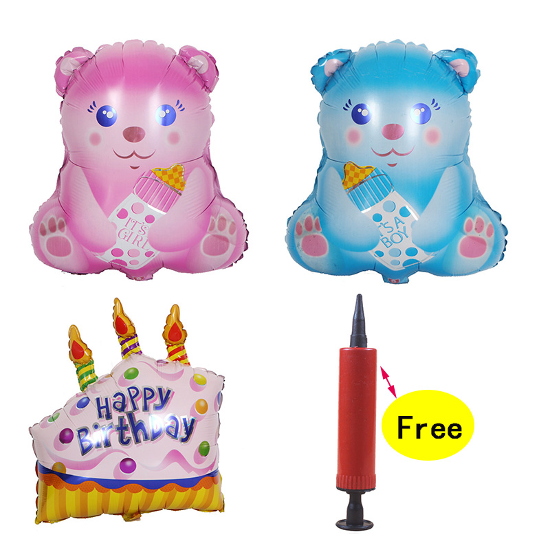 Detail Feedback Questions About 1PC 5543CM Little Bear 1st Birthday Decorations Foil Balloon 7457CM Cake 100 Days Party Baby Supplies Inflator For