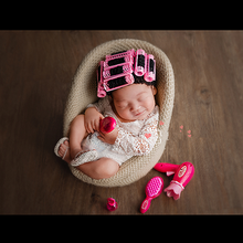 newborn photography prop Perm rods cap+electric hair drier+comb+mirror+lipstick+slipper set limited edition
