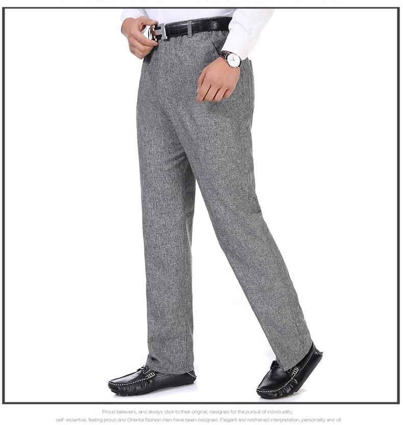 Summer Spring Man Linen Pant Dark Gray Business Casual Trouser Male Plus Size Elastic Band Waist Pantalones Homme Office Pant Plus Size (9)