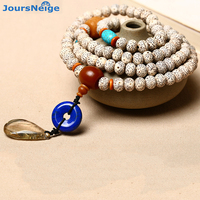 Wholesale Weathering Xingyue Natural Bodhi Bracelet 108 Buddha beads Hair Crystal Water Drop Pendant Necklace Yoga Lucky Jewelry