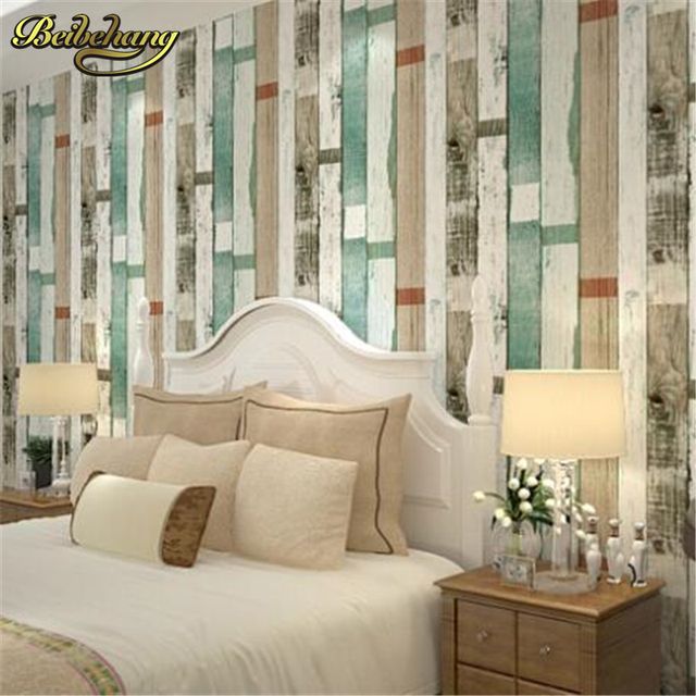 Beibehang Wood Panel Stripes Vintage Wallpaper Roll Effect Feature Bedroom For Wall 3d Papers