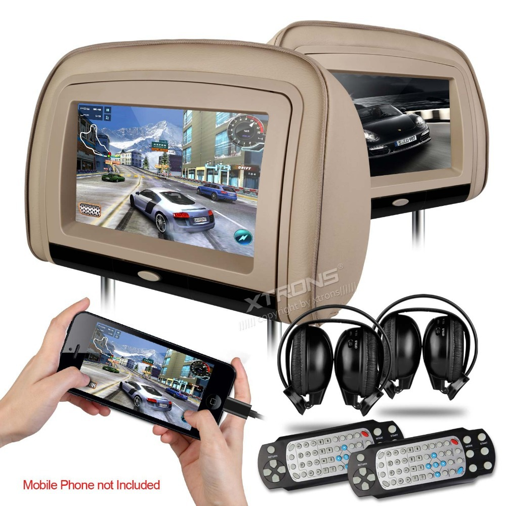 2x9 car headrest dvd player with 2 ir headphones buit in hdmi port 8