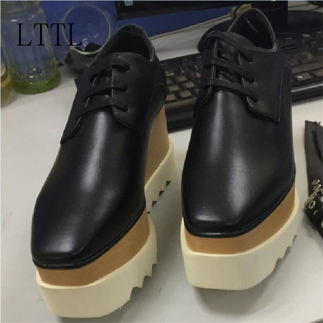 2017 Hot Stars Loafer Shoes Women Square Toe lace-up Thick Bottom Platform Wedge Shoes For Women Causal Shoes
