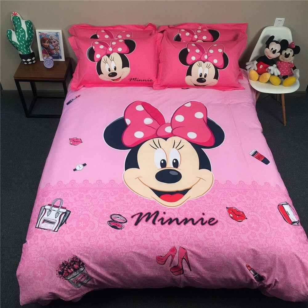 Ensemble de literie imprimé 3D Disney Minnie Mouse couvre-lits pour filles en coton tissé 500TC double reine roi SZ couleur rose