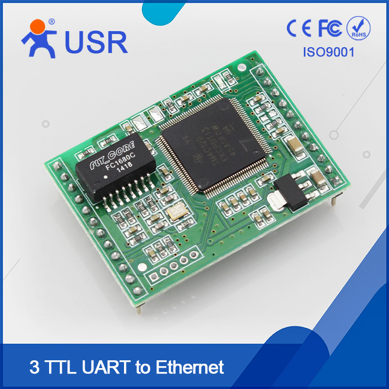 USR-TCP232-ED2 Ethernet Module TTL to TCP Converter DHCP and DNS Supported 2Pcs/Lot usr tcp232 ed2 triple serial ethernet module ttl uart to ethernet tcp ip with new cortex m4 kernel free ship