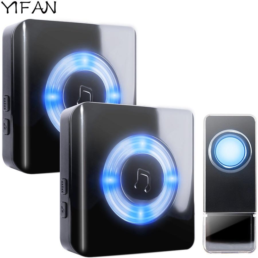 YIFAN Étanche Sans Fil Porte cloche UE Plug 300 M longue portée maison sonnette Carillon 1 2 batterie bouton 2 3 récepteur Sourds LED lumière