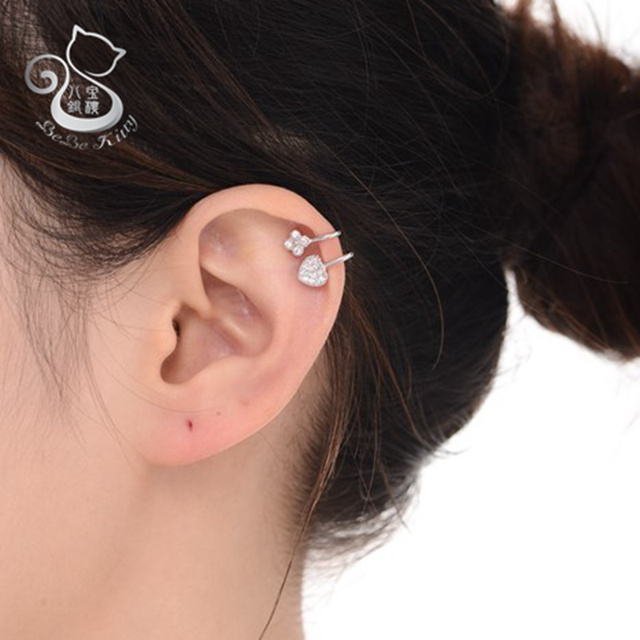 Ear Cuff Wrap Crystal Real 925 Sterling Silver Earring Newest High Quality Summer Style Piercing Clip