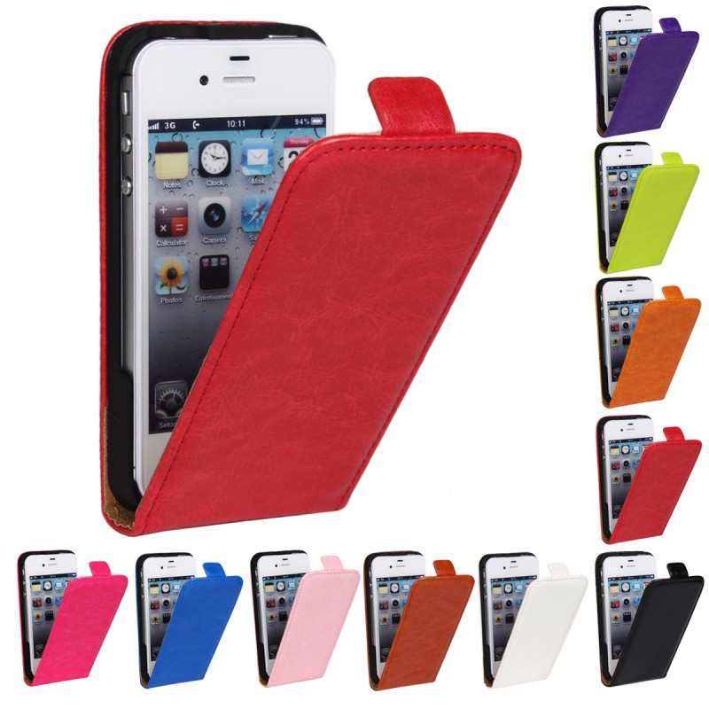 Retro Luxury Mobile Phone Bags Cases Crazy Horse Flip Cover PU Leather Case For Apple iphone4 4s 4s