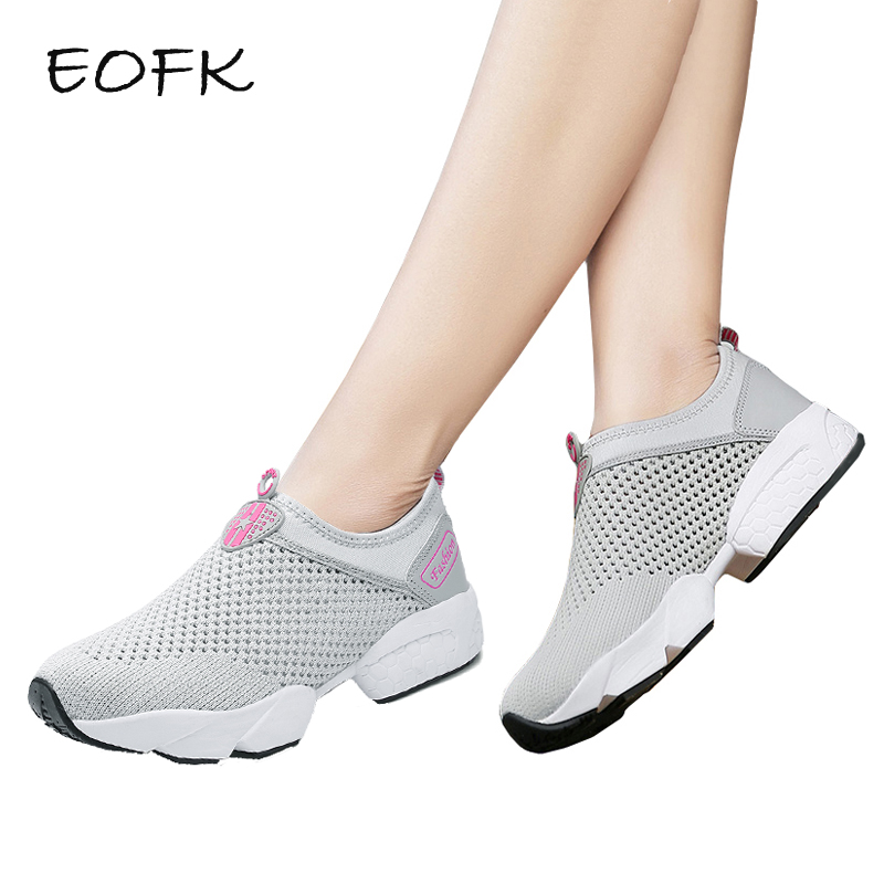 EOFK 2018 Summer Women Casual Sneakers Shoes Woman Air Mesh Breathable Shoes Slip On Gray Women's Flat Shoes zapatos mujer instantarts casual women summer flat shoes cute dog alaskan malamute flower print female air mesh shoes fashion slip on sneakers