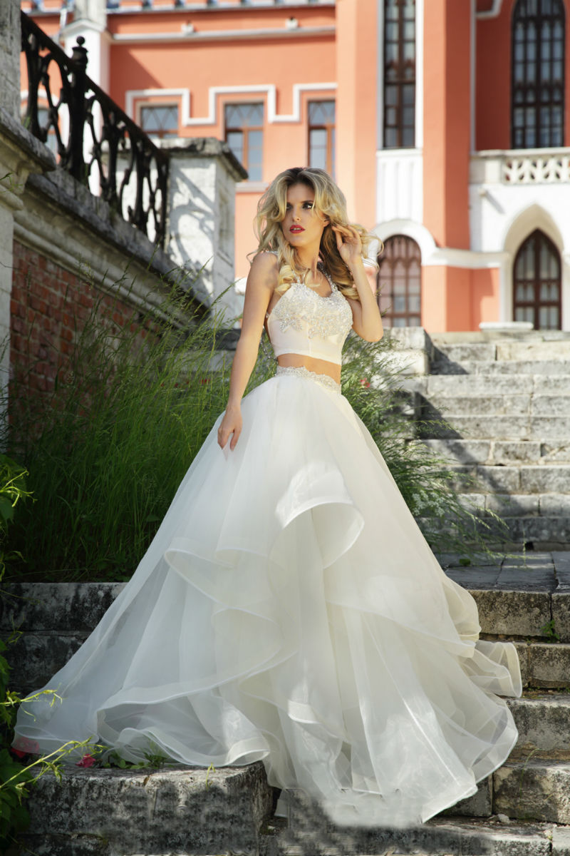 Fashion Two Pieces Wedding Dresses Y Open Belly Backless