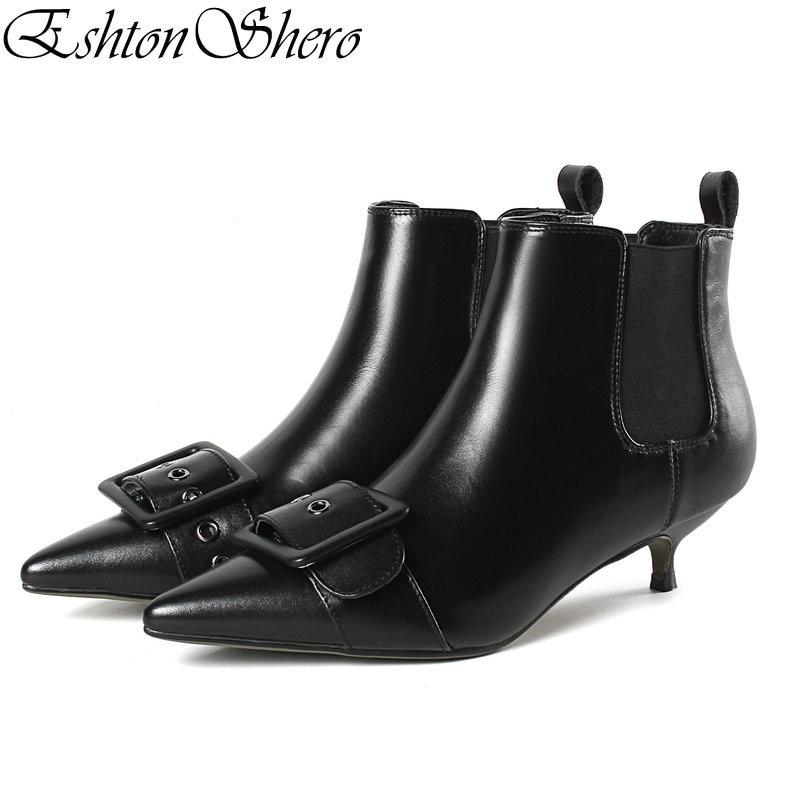 Eshtonshero Boucle Bottes Femmes Pointu Chaussures Bas Dames Cheville Moto En Bout Noir 34 noir white Pu 43 Beige Femme Taille Talons Cuir Mince OkX80Pnw