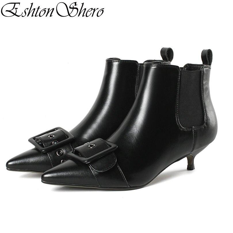 EshtonShero femmes bottines chaussures femme mince talons bas cuir + PU bout pointu noir boucle dames moto bottes taille 34-43