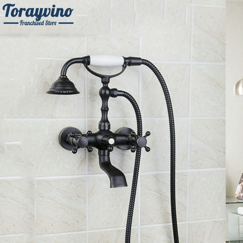 Torayvino Bathroom Shower Faucets Bathtub Mixer Double Handle Wall Mount Oil Rubbed Bronze Shower Set Shower Head Hand Shower oil rubbed bronze white handle tub shower faucets with hanged shower head wall mounted bathroom bathtub shower faucets yn 420