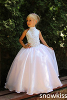 2016 Pink And White Satin Flower Girl Dresses With Crystals First Communion Ball Gowns For Little
