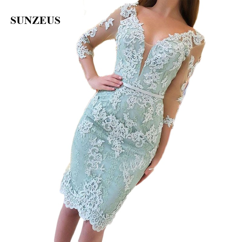 Cocktail     Dresses   Three Quarter Sleeves V-neck Mint Green Elegant Party Gowns Lace Applique Beaded Short Prom Vestido Coctel