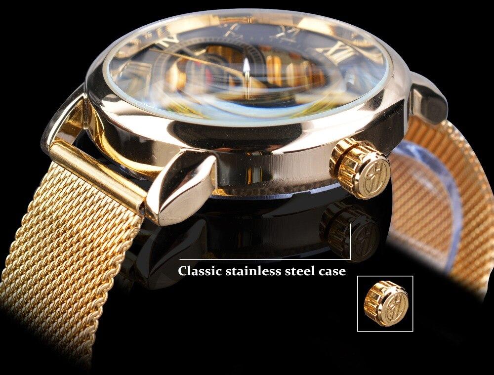 gravura ouro aço inoxidável masculino relógio mecânico