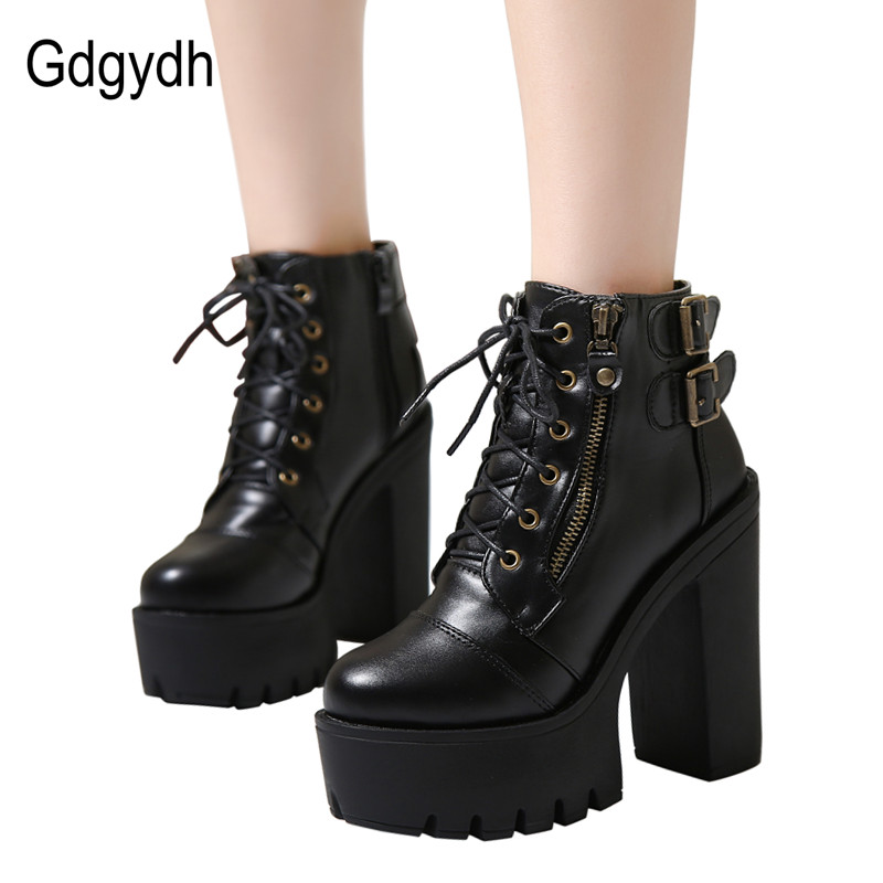 467f595af4508 US $25.15 26% OFF|Gdgydh Hot Sale Russian Shoes Black Platform Boots Women  Zipper Spring High Heels Shoes Lace Up Ankle Boots Leather Big Size 42-in  ...