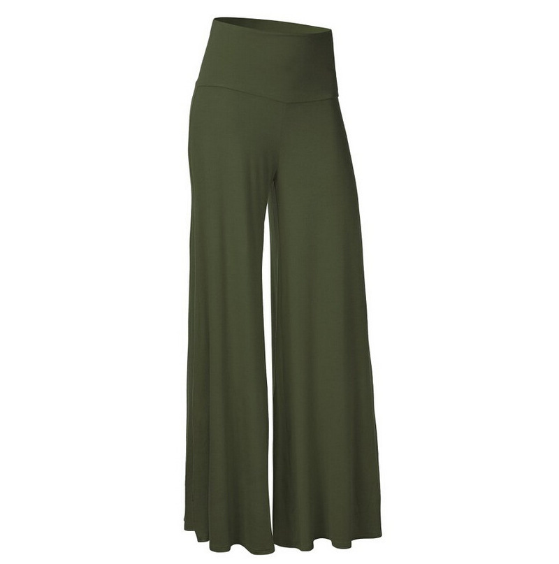 Summer Women   Wide     Leg     Pants   Casual High Waist Slim Long Loose Trousers Girls Hot Sweatpants Plus Size Female Stretch Green   Pants