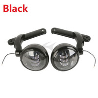 2 Style 4.5'' LED Auxiliary Fog Passing Lights & Brackets For Harley Street Glide Motorcycle