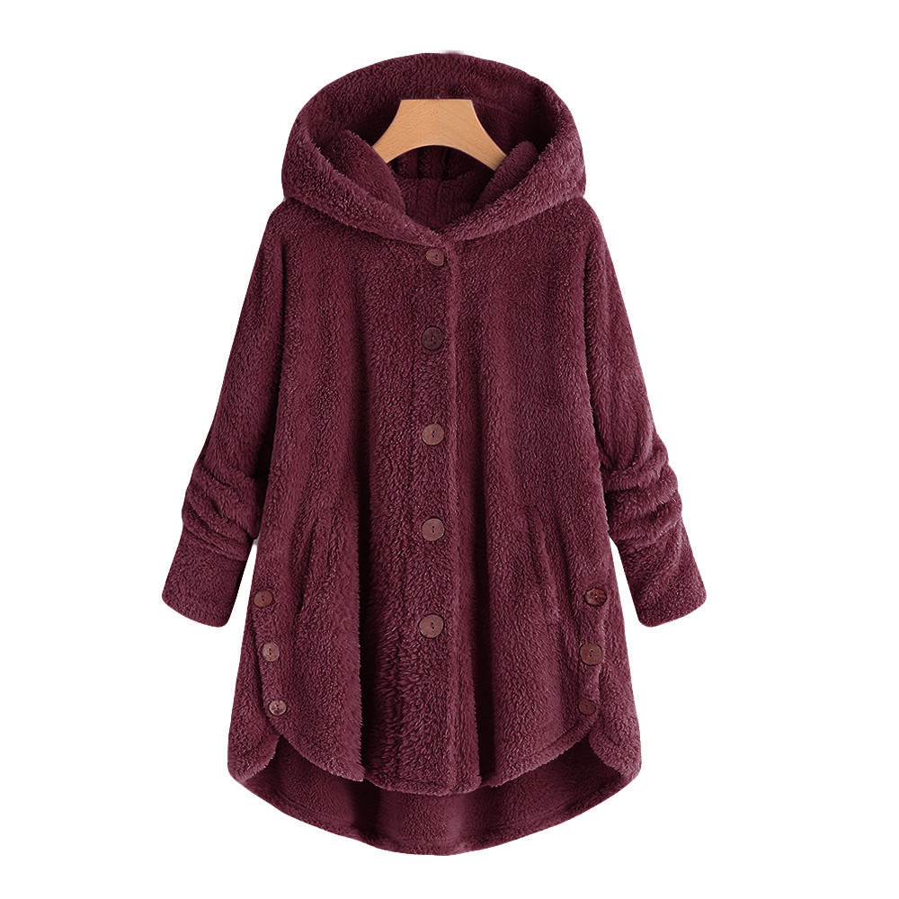 Fashion Women Button Coat Fluffy Tail Tops Hooded Pullover Loose Sweater Hooded Long Outwear Outwear Warm Bomber  fashion