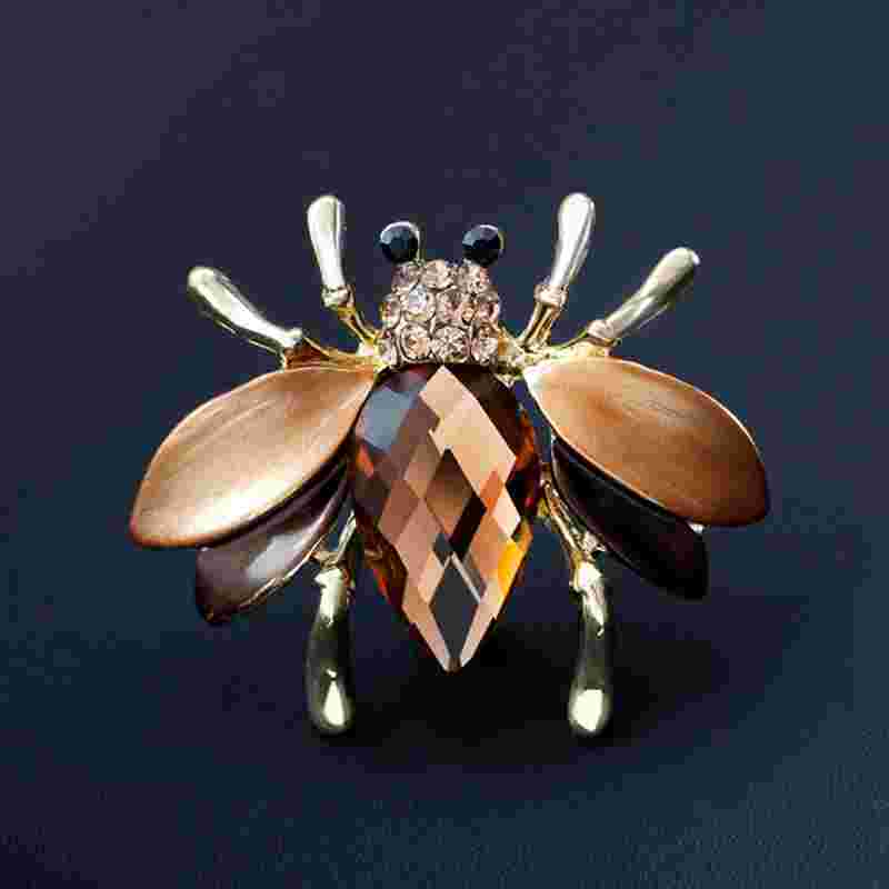 2018 Enamel Bee Brooches Crystal Rhinestone Insect Brooch Pin Cute Animal Pins Fashion Jewelry Suit Dress Brooch for Women Men
