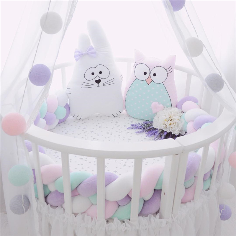 Braid Bumpers In A Children s Bed Crib Anti collision Room Decoration Cotton Pillow Bed Safety