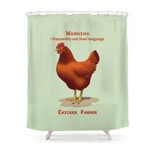 Funny Rhode Island Red Hen Fowl Language Chicken Farmer Shower Curtain Waterproof Polyester Fabric Bathroom Decor