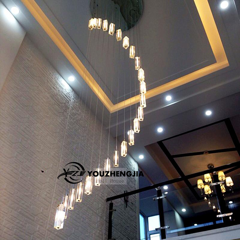 Modern Chinese simple villa crystal block long line LED chandelier S - type rotating double staircase living room lighting led