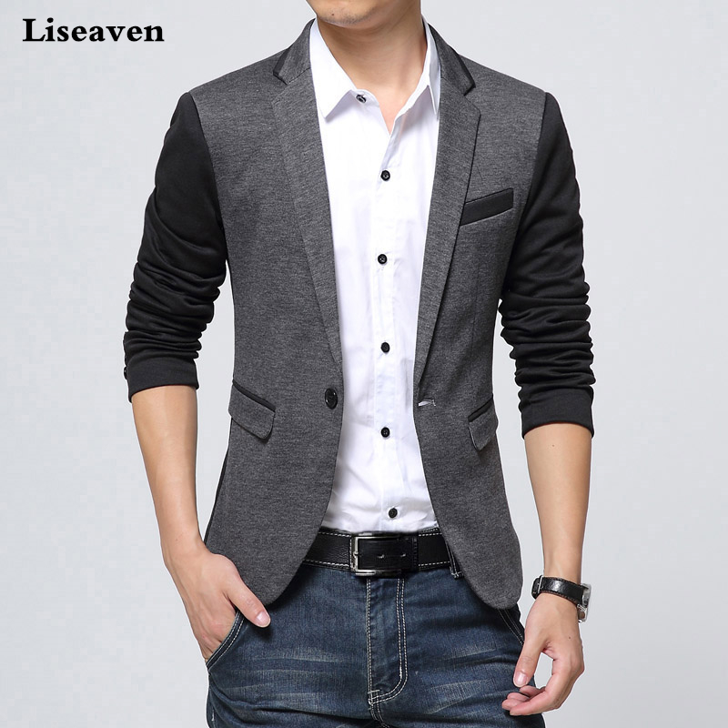 Liseaven Brand Clothing Blazer Men Fashion Coat Slim Male Clothing Casual Solid Color Mens Blazers Plus Size
