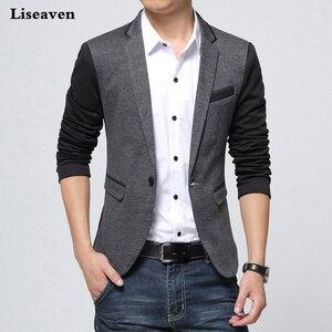 Image 1 - Брендовая одежда Liseaven, блейзер, мужское модное пальто, тонкая мужская одежда, повседневные однотонные мужские блейзеры