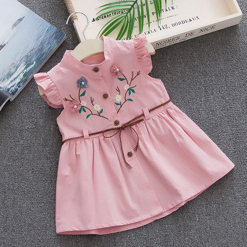 2018 Summer Girls Clothes Pink Flower Dress for Girls Kids Ruffles Dress + Belt Korean Children Dress New Cotton Kids Wear2018 Summer Girls Clothes Pink Flower Dress for Girls Kids Ruffles Dress + Belt Korean Children Dress New Cotton Kids Wear