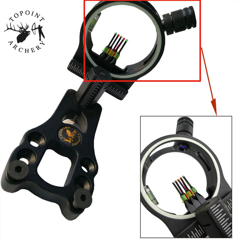 "Archery Compound Bow Sight 5 Pin 0.029/"" Optical Fiber Micro Adjustable Hunting"