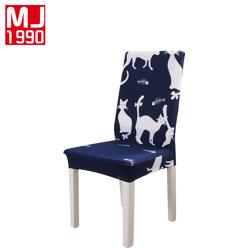 New Polyester Spandex Stretch Chair Cover Cat Printing Home Restaurant Chair Antifouling Cover Seat Case Hotel Chair Covering ...