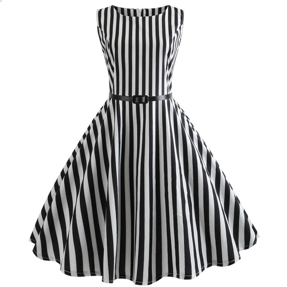b7ce008b39f5 White and Black Striped Summer Dress 2019 Fashion With Belt Sleeveless  Knee-Length Women Tank