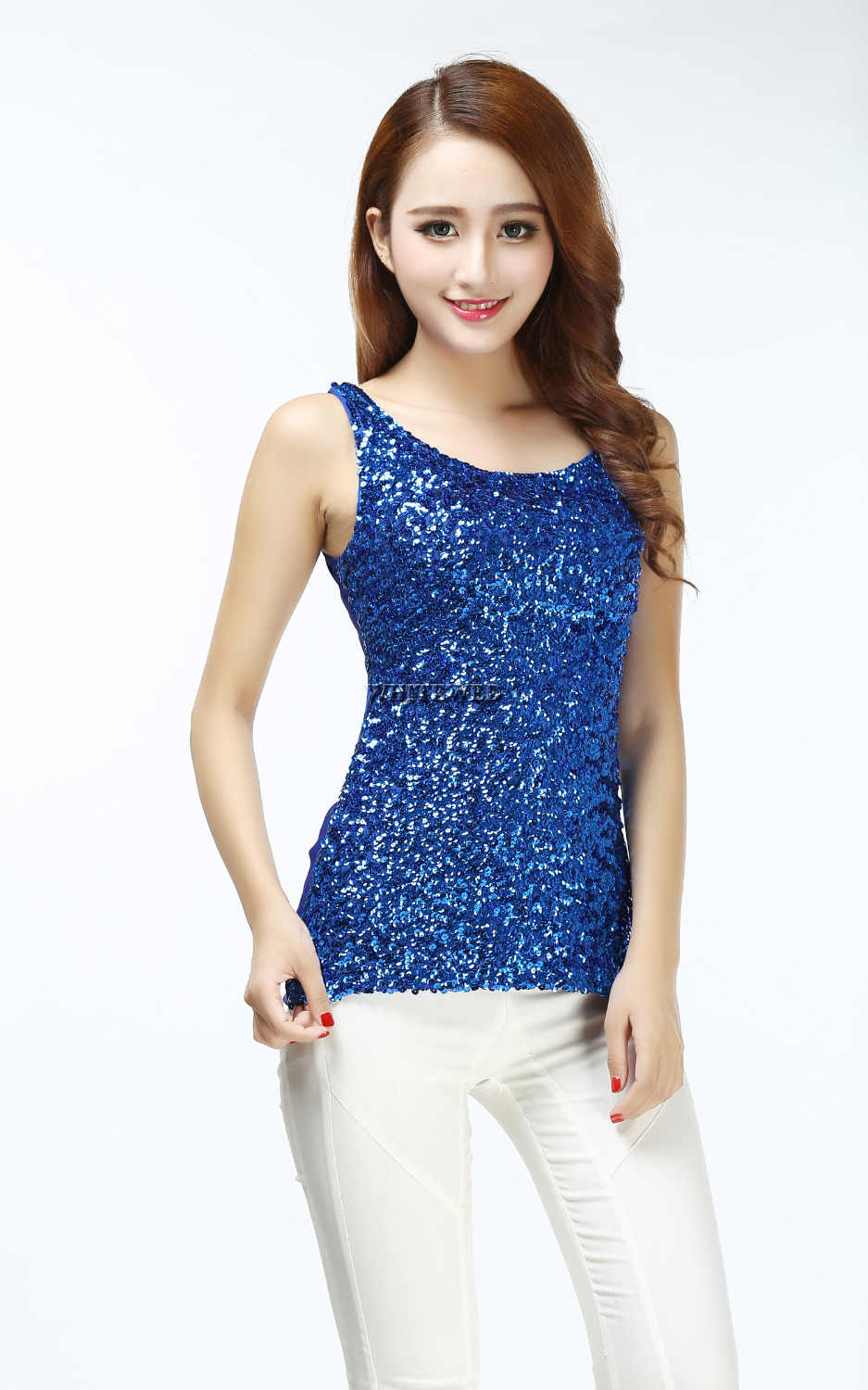 fd1a0a0079 Sparkly Glitter Sequin embellished knitted slim scoop tank top for Women  dance silver purple black blue White grey underwear