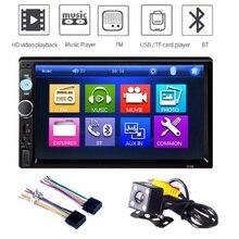 Прямоугольник 2 Din автомагнитолы MP3 bluetooth-плеер fm-передатчик USB gps удаленного Управление 7 дюймов Сенсорный экран автомобиля аудио с камера