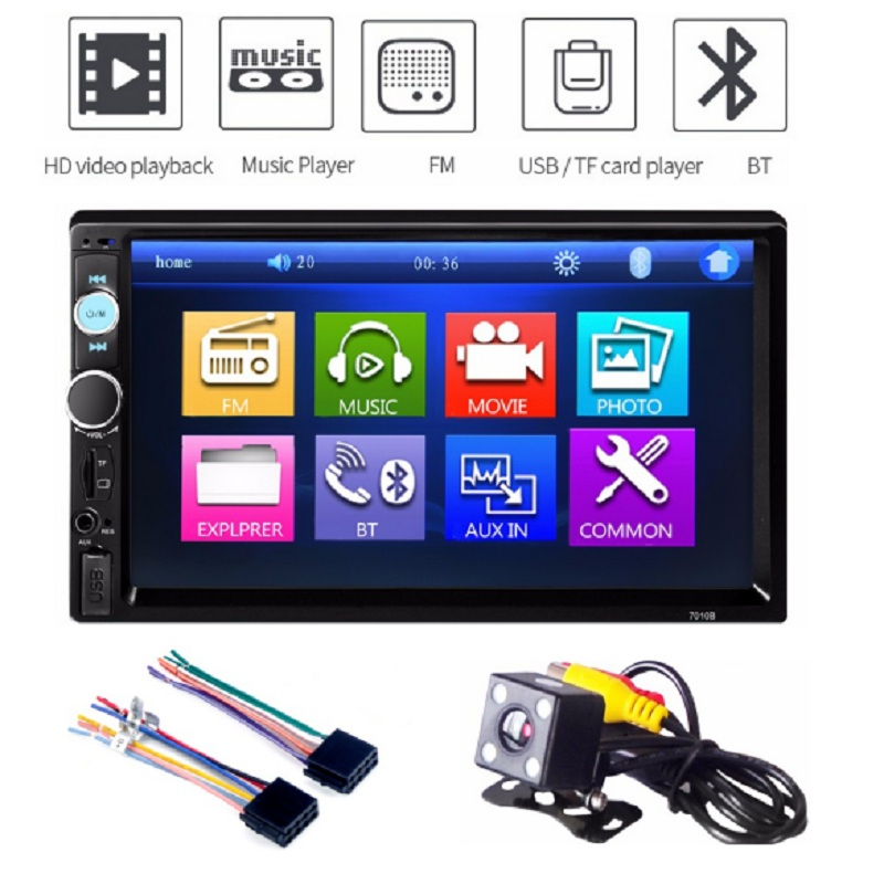 Rectangle 7 Inch 2 Double Din Car MP5 Player SD USB FM Radio Bluetooth Video Remote Control Audio Stereo Touch Screen Car Player steering wheel control car radio mp5 player fm usb tf 1 din remote control 12v stereo 7 inch car radio aux touch screen